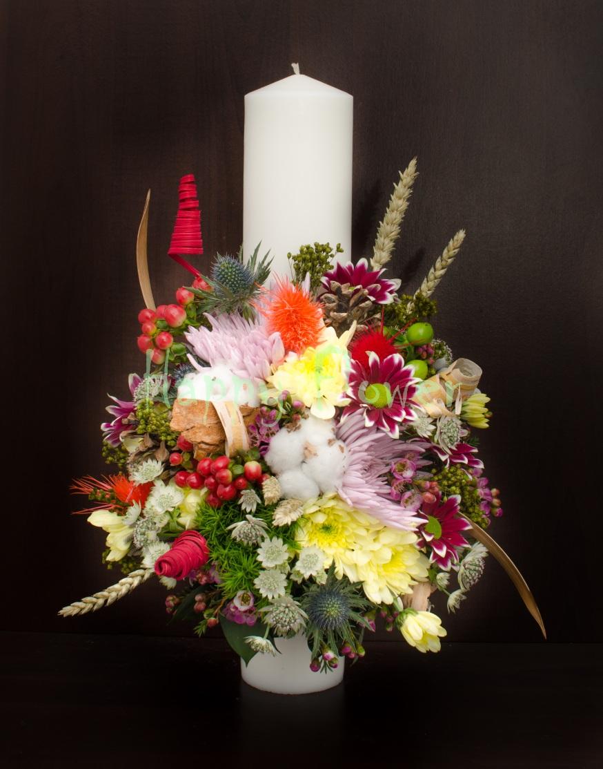 Lumanare Botez Flori De Camp 40 Cm Inaltime Happy Flower