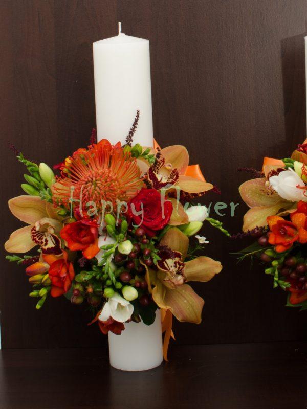 Lumanare-40cm-toamna-trandafiri-frezii-orhidee-leucospermum