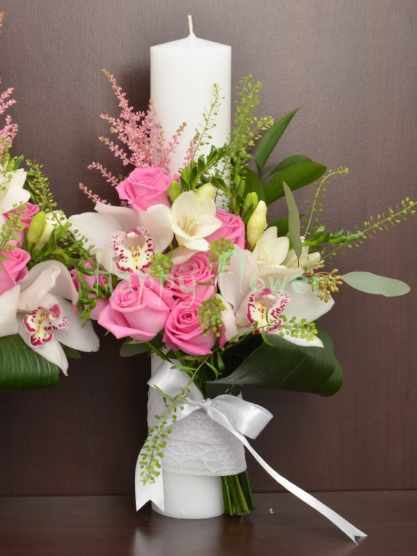 Lumanare-cununie-40cm-trandafiri-roz-orhidee-alba