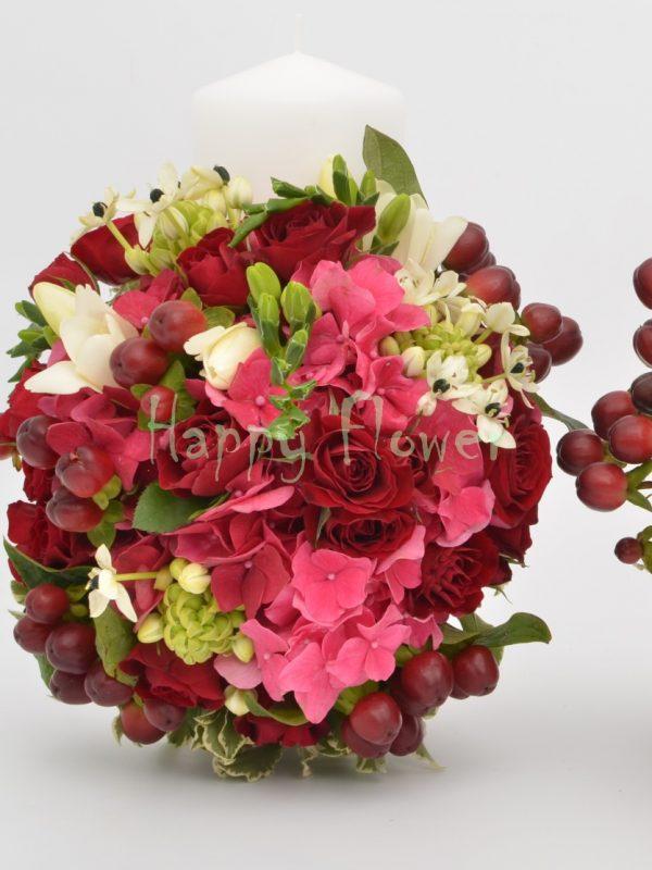 Lumanare-nunta-scurta-25cm-miniroze-grena-hortensie-frezii-hypericum