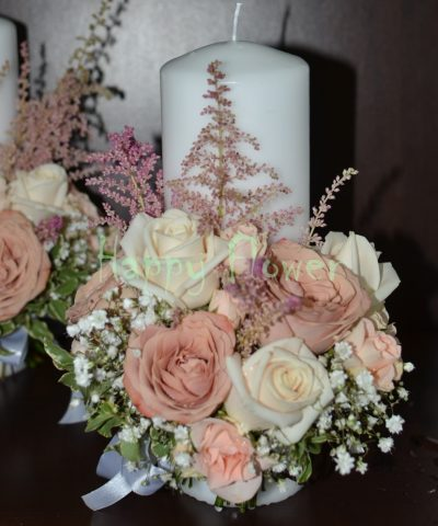 Lumanare-scurta-nunta-25cm-trandafiri-cappuccino-trandafiri-crem-floarea-miresei