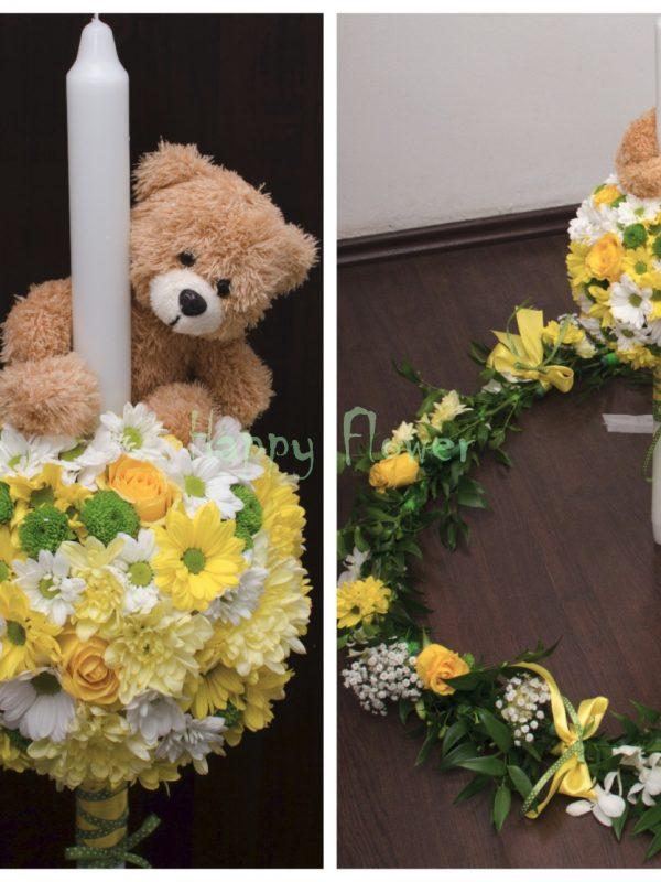 pachet flori botez crizanteme galbene si trandafiri