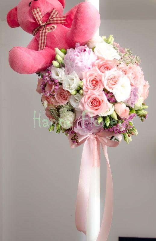 Lumanare botez fetita bujori roz, miniroze, lisiantus