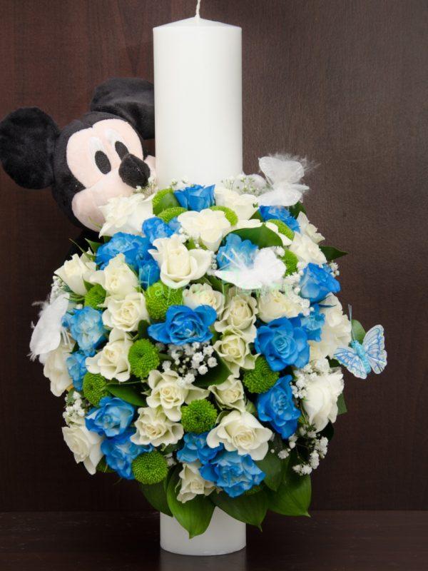Lumanare botez 40 cm cu Mickey Mouse, miniroze albe si miniroze albastre