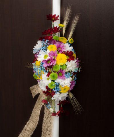 Lumanare botez crizanteme colorate si spice de grau