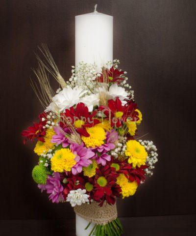 Lumanare-botez-crizanteme-40cm