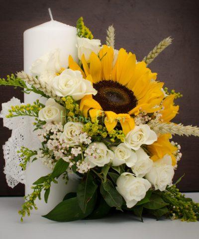 Lumanare-scurta-25 cm-floarea-soarelui-miniroze-albe-spice-grau