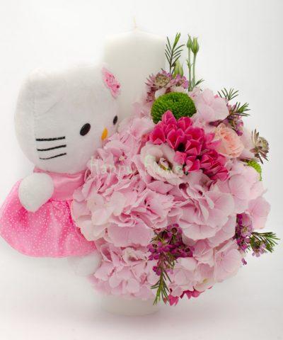 Lumanare-botez-Hello-Kitty-hortensii-roz
