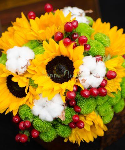 Buchet-mireasa-floarea-soarelui-bumbac-santini-verde-hypericum-rosu