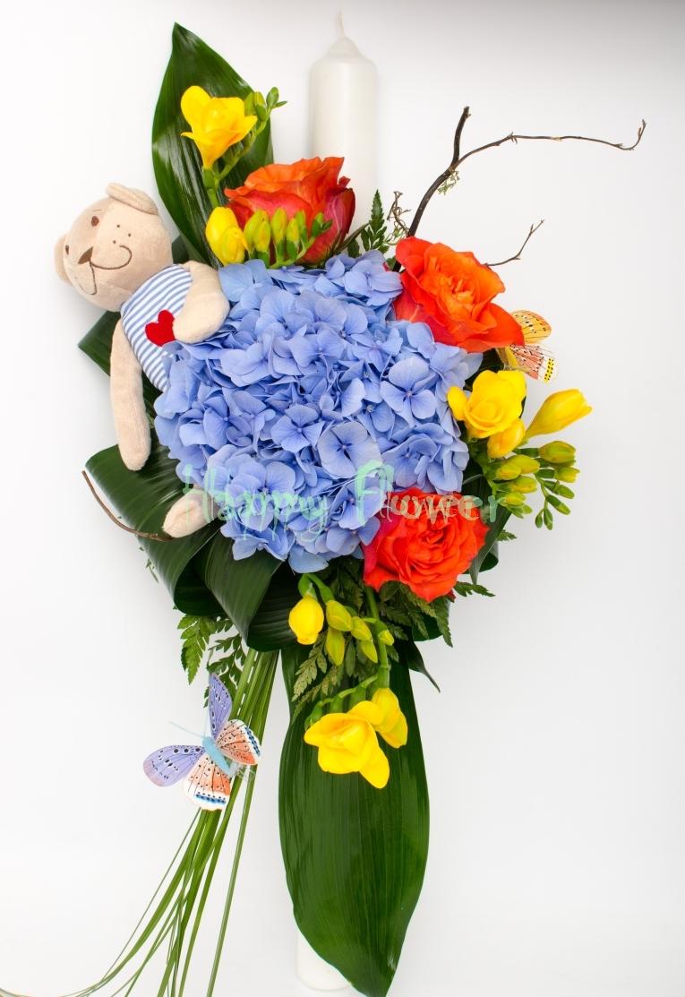 Lumanare Botez Cu Ursulet Si Hortensii Albastre Trandafiri