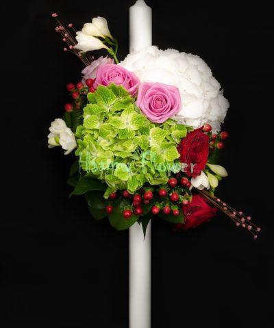 Lumanare-botez-hortensii-albe-hortensii-verzi-trandafiri-frezii