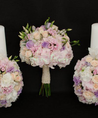 Lumanare-cununie-40cm-hortensii-pastel-miniroze-bouvardia-roz