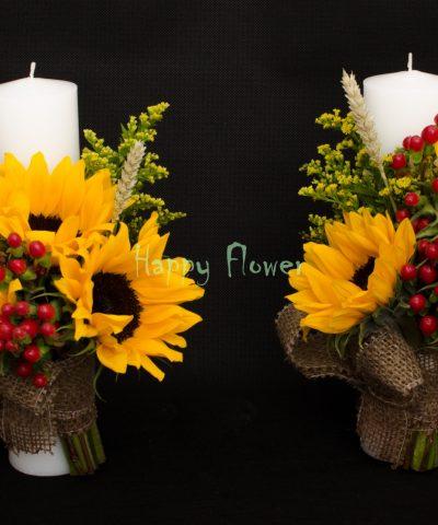 Lumanare-cununie-30cm-floarea-soarelui-spice-de-grau-solidago-hypericum-rosu