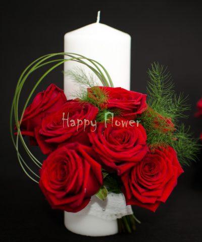 Lumanare-scurta-25 cm-trandafiri-rosii