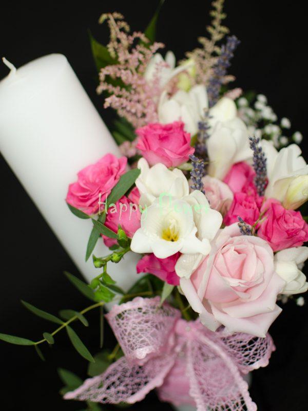 Lumanare-cununie-40-cm-trandafiri-roz-frezii-albe-miniroze-fuchsia