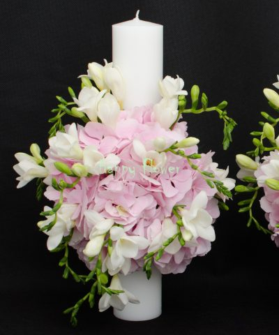 Lumanare-cununie-40cm-hortensii-roz-frezii-albe