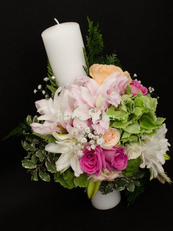 Lumanare-nunta-40-cm-crini-trandafiri-hortensii