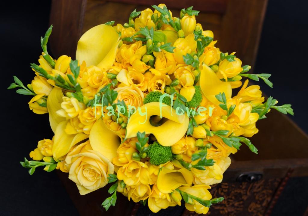 Buchet Mireasa Galben Cale Trandafiri Frezii Happy Flower