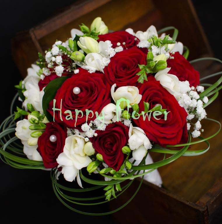 Buchet Mireasa Nasa Trandafiri Rosii Frezii Albe Beargrass