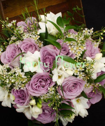 Buchet Mireasă Cu Orhidee Trandafiri Frezii Happyflowerro