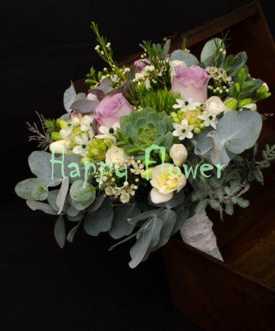 Buchet-mireasa-plante-suculente-trandafiri-mov-ornitogalum-trick