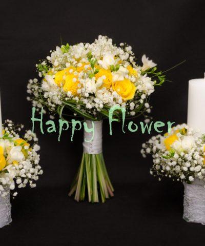 Buchet-nunta-trandafiri-galbeni-frezii-albe-floarea-miresei