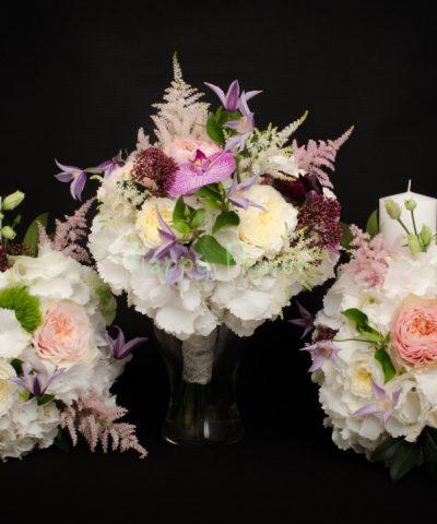 Lumanare scurta hortensii albe, garden style