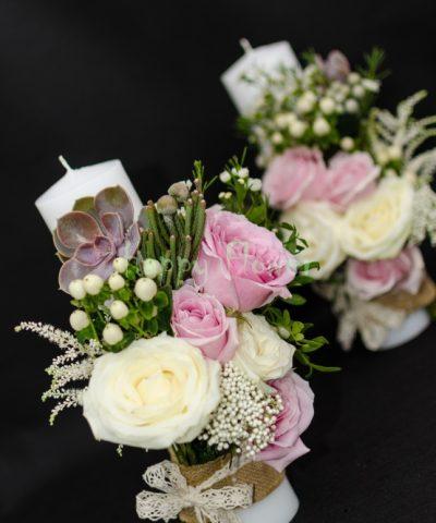 Lumanare-cununie-trandafiri-roz-trandafiri-albi-plante-suculente