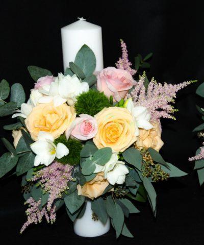 Lumanare-cununie-40 cm-flori-pastel