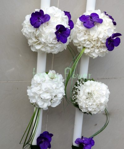 Lumanari-lungi-cununie-hortensii-albe-orhidee-vanda