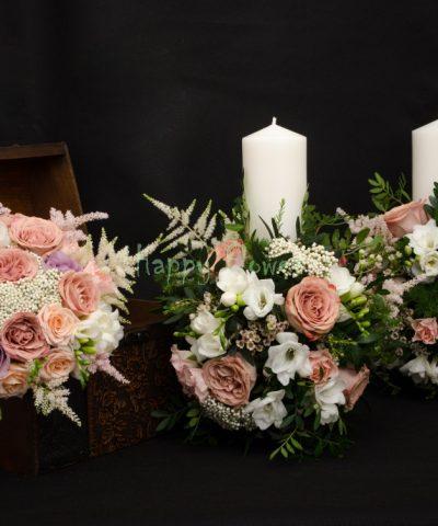 Lumanari nunta trandafiri Capuccino