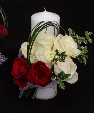 Lumanare scurta trandafiri