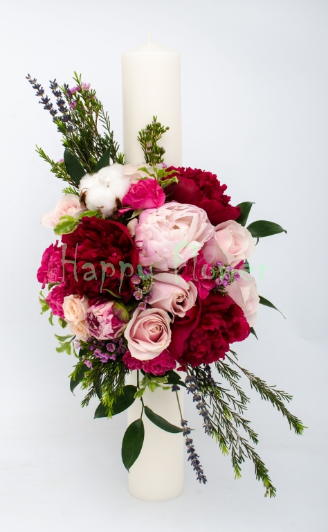 Lumanare-nunta-botez-bujori-trandafiri-miniroze-levantica