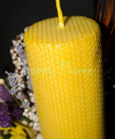 Lumanare-ceara-naturala-fagure-flori-uscate-bumbac-craspedia-spice-grau