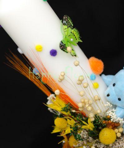 Lumanare-botez-40cm-flori-uscate-ursulet-fluturasi-bulinute