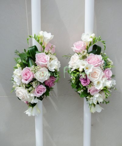 Lumanare lunga 1,20 m flori pastel, trandafiri, frezii