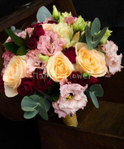 Buchet-mireasa-nasa-trandafiri-piersica-lisianthus-roz-miniroze-grena-eucalipt